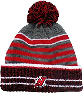 Old Time Hockey New Jersey Devils Huntley Cuffed Pom Knit Beanie Hat/Cap