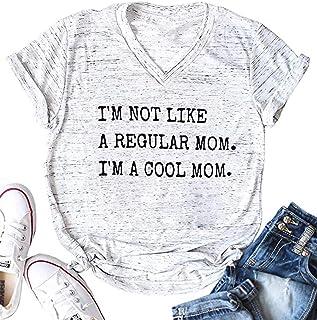 UNIQUEONE Women I'm Not Like A Regular Mom I'm A Cool Mom Funny T-Shirt Short Sleeve Tops Tee