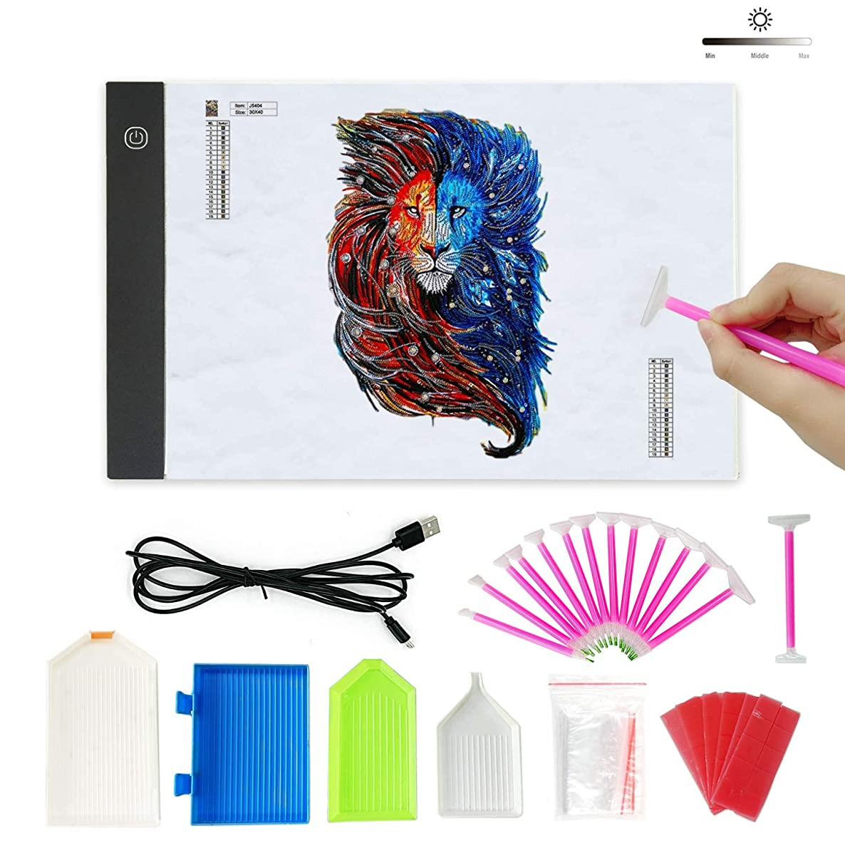 Lumsburry 5D Diamond Painting Advanced Kits, Tools Set with A4 LED Light Box, DIY Tools Sticky Pens, Trays, Taps Accessories for Diamond Painting