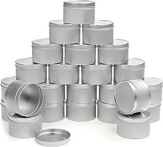 BELLE VOUS Lot de 24 Petite Boite Metal avec Couvercle - Boite Aluminium 24 ML, Contenant Bougie pour Fabrication de Bougi...