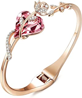 Sllaiss Rose Gold Plated Pink Crystal Cuff Bangle Bracelets for Women Birthday Jewelry Gift for Her Made with Swarovski Cr...