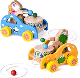 2 Pack Toddler Toys, Wooden Pull Toys for Kids, Animal Pull-Along Toys Beating Drum, Wooden Baby Toys, Gifts for Boys & Girls