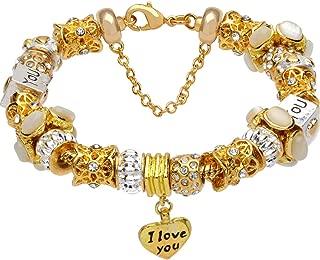 White crystal beads I LOVE YOU heart pendant gold-tone charm complete beaded bracelet