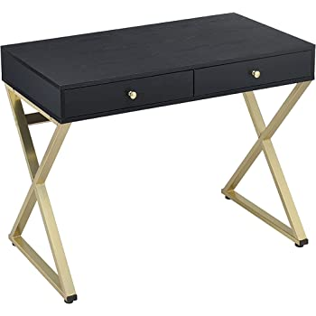 ACME Furniture Acme Coleen Desk, black & Brass