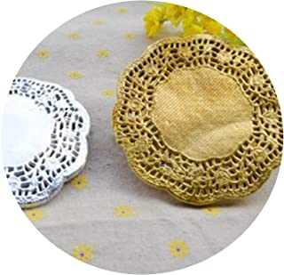 100PCS/LOT 4.5/5.5/6.5/7.5/8.5/10/12 Inch Gold Silver Paper doilies placemats Coasters Table Accessories mat pad Paper Coasters,6.5Inch Silver,Round