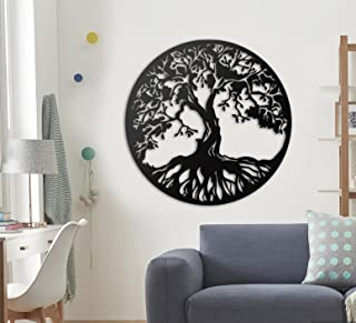 Giftsclub Tree of Life Wall Art, Wooden Wall Decoration, Metal Art design, Wall Hangings, Geometric Wall Art, Wall Sign, M...