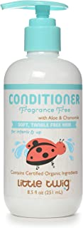 Little Twig All Natural, Hypoallergenic, Extra Mild Organic Baby Conditioning Detangler for Sensitive Skin, Unscented, 8.5...