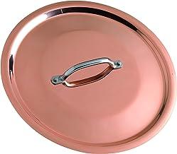 Pentole Agnelli Copper Induction Flat Lid with Steel Bridge, Diameter 24 cm.