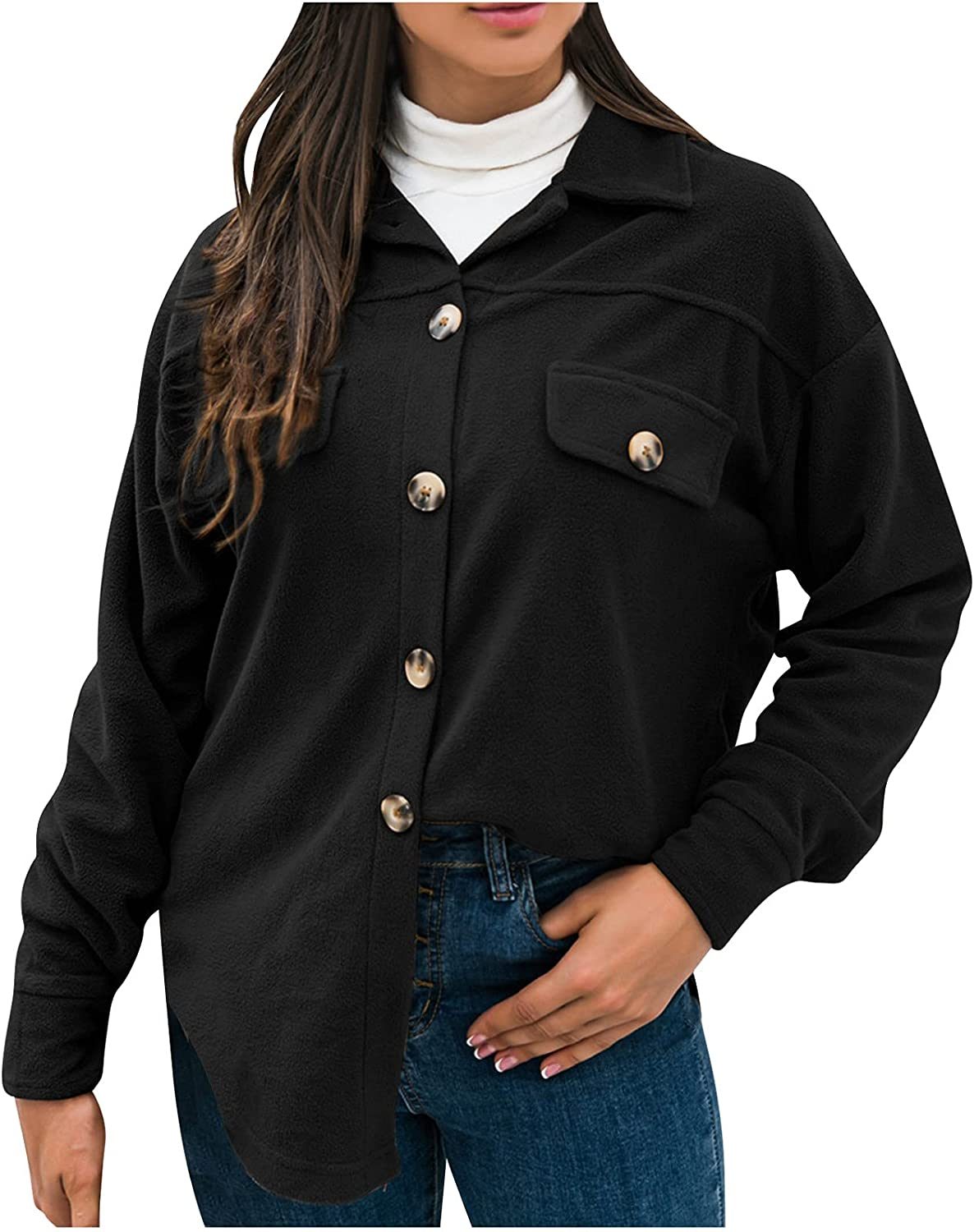 Teacher Clothes Button Down Casual Cardigan Solid Color Comfy Lapel Tunics Fall Thin Long Sleeve Outerwear
