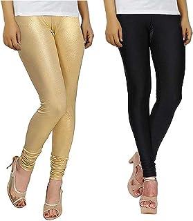 c3354d4b8ba8d1 Bhetvastu Women's Shining Lycra Leggings (BV05, Black and Golden, XL) - Pack