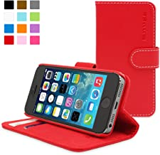 iPhone 5 / 5s Case, Snugg - Leather Wallet Cover Case with (Red) for Apple iPhone 5 / 5s