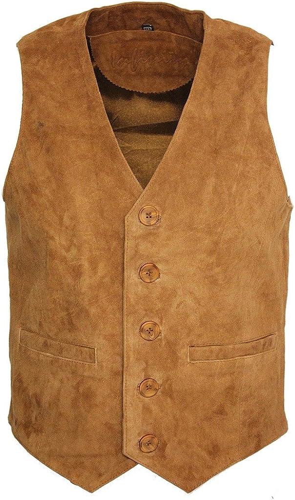Men's Goat Suede Classic Smart Tan Leather Waistcoat