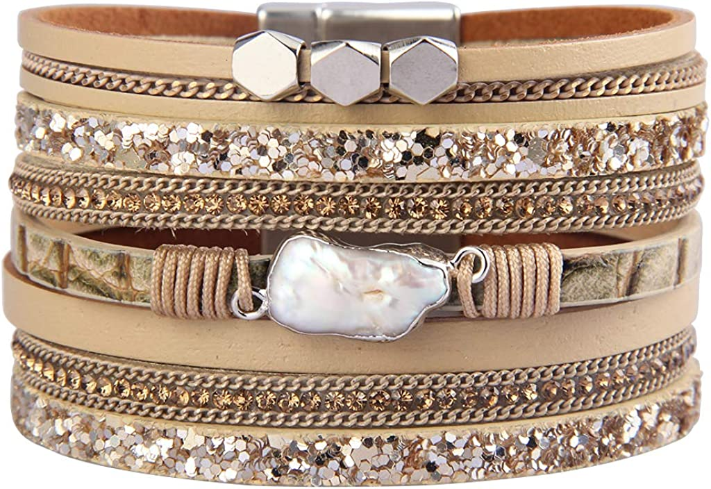 Evchris Leather Wrap Bracelet Baroque Pearl Boho Cuff Bracelet Multilayer Handmade Wristbands Magnetic Clasp Bangle Jewelry Gifts for Women Teen Girls Mother