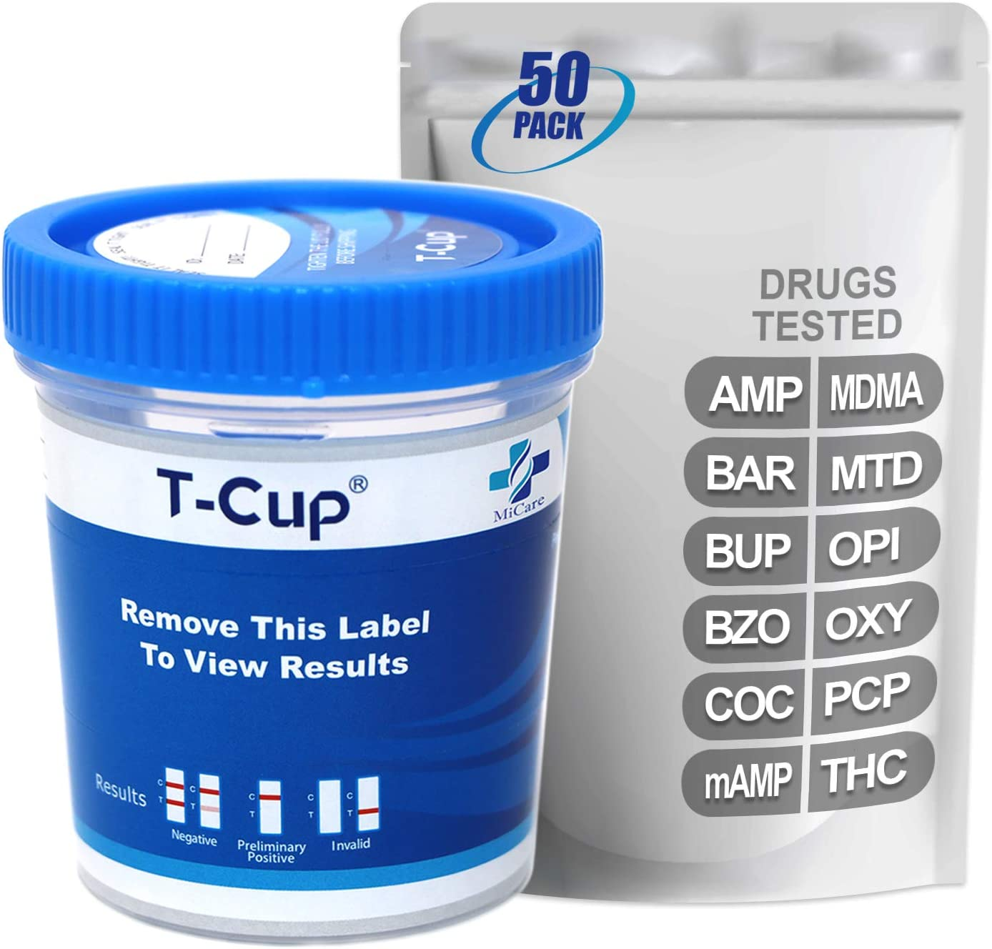 MiCare 50pk - 12-Panel Multi Drug Test BAR AMP Cup CO 推奨 BZO 注目ブランド BUP