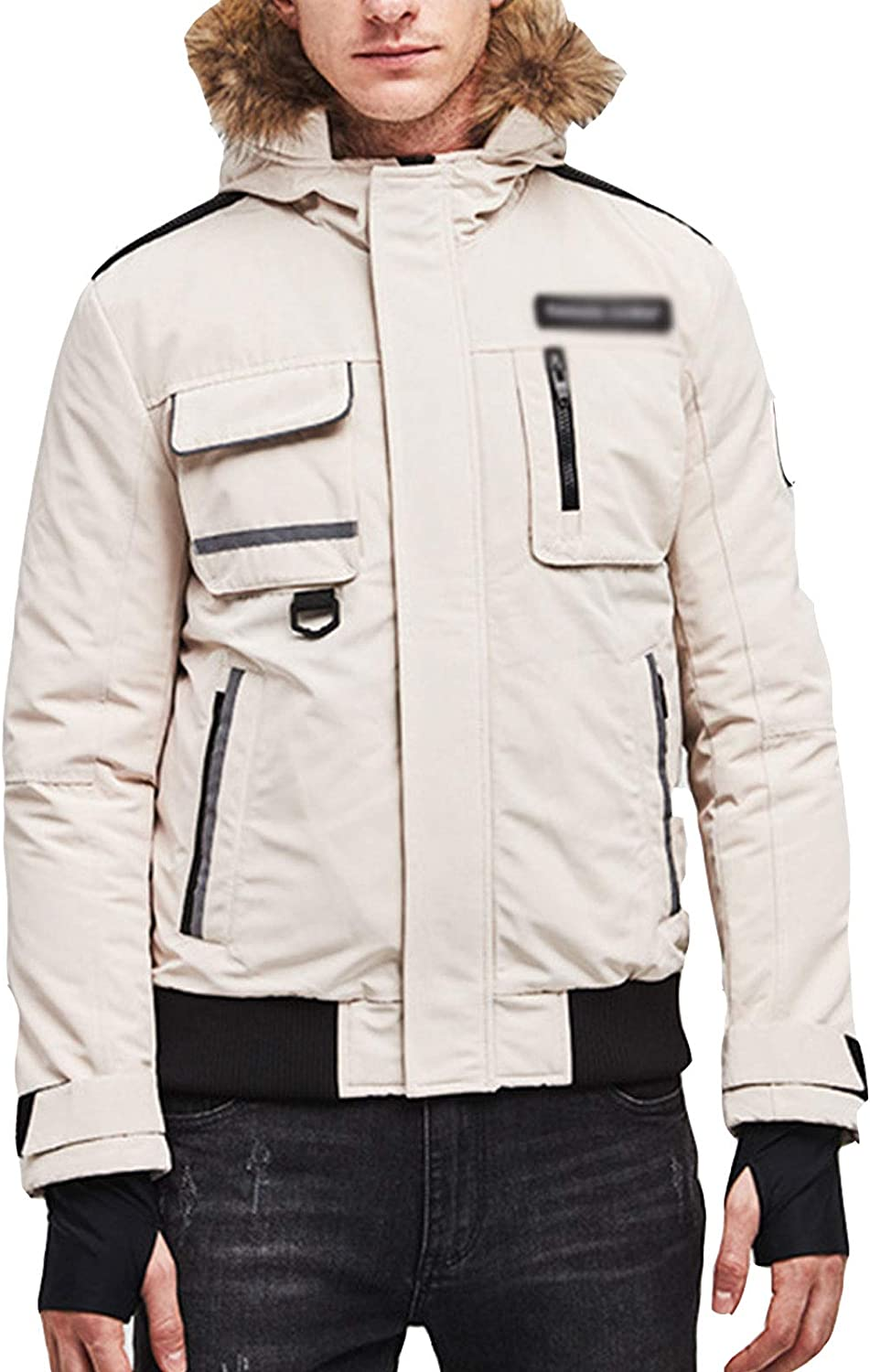 DUTUI Men's Winter Down Jacket, 80% White Duck Down Short Thick Down Jacket Casual Workwear Men's and Women's Warm Down Jacket,White,4XL