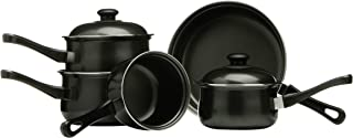 Premier Housewares Batería de Cocina, Acero de Carbono, Negro, Centimeters