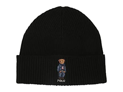 Polo Ralph Lauren Jean Jacket Sweater Bear Cuff Hat (Black) Caps