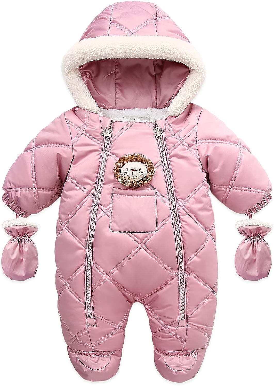 Fairy Baby Infant Baby Winter Snowsuit Coat Romper Hoodied Footie Outwear Warm Jumpsuit for Girls Boys 6-24 Months