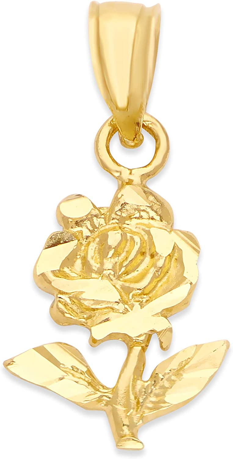 10k Real Solid Gold Ranking TOP1 Rose Pendant Jewelry Her for Anniversary Mo Fees free