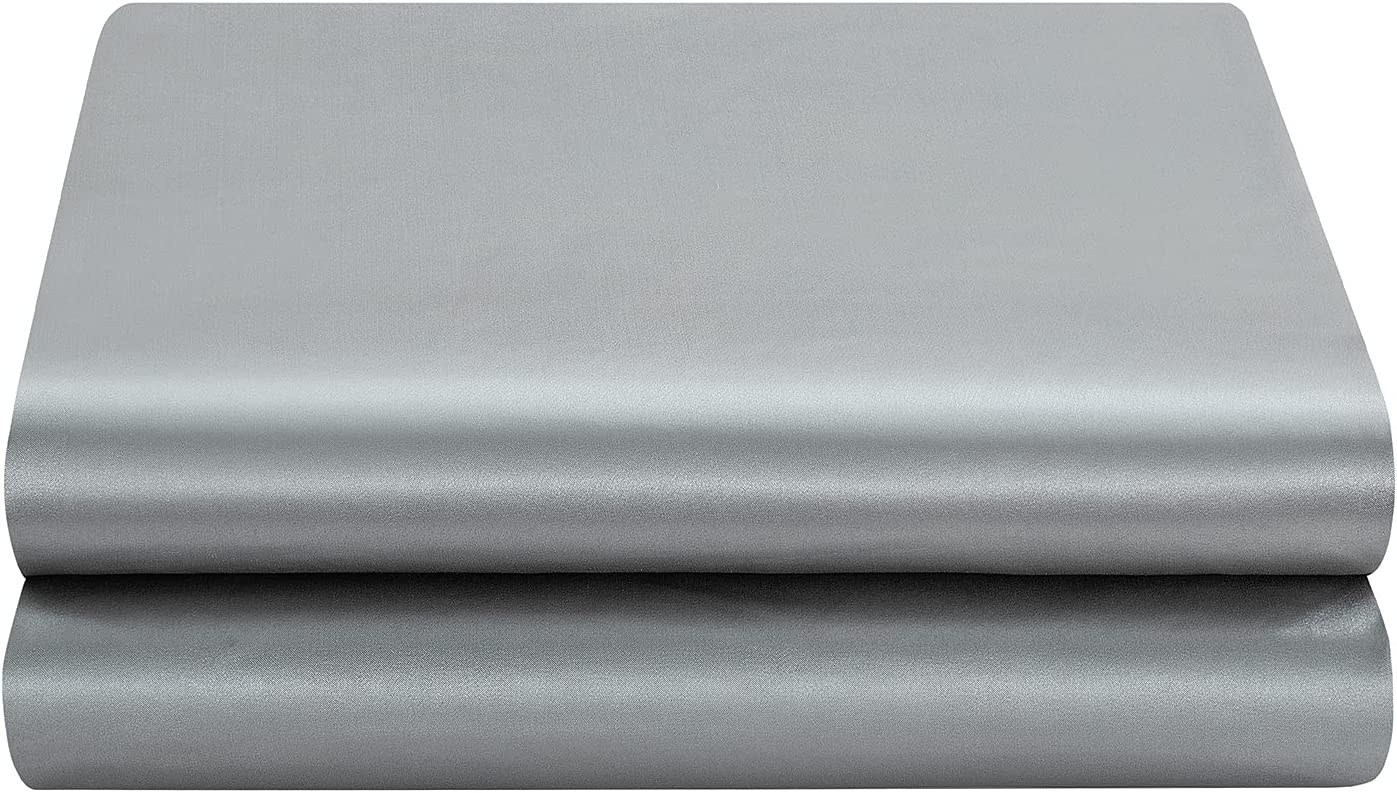 Satin Free Shipping Cheap Bargain Gift Flat Sheet Only Full 1 Piece - Silver Phoenix Mall To Gray