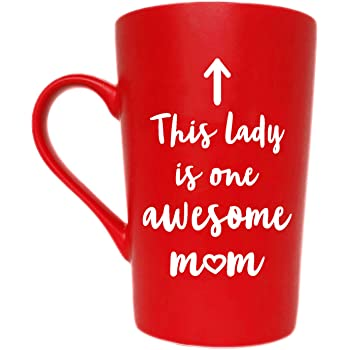 MAUAG This Lady is One Awesome Mom Coffee Mug Christmas Gifts, Funny Quote Cup for Mother's Day or Valentine's Day from Daughter Son or Husband, Red 12 Oz