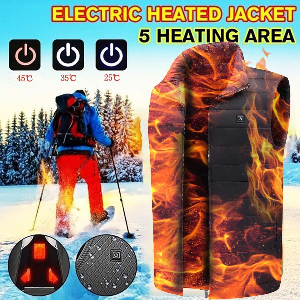 Women Men UK Heated Vest Electric Heated Jacket USB Charging Zip,Adult Waterproof Heated Clothing Body Warmer Gilet with 5 Heating Pads 3 Levels Temp for Outdoor Motorbike Camping Stock