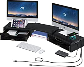 Rolanstar Monitor Stand Riser with Drawer & Wireless Charger, Dual Monitor Stand with USB Ports for Data Transfer & Chargi...