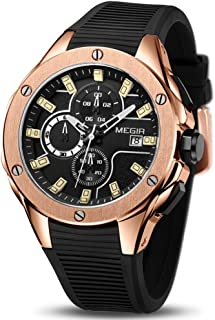 Men Sports Quartz Wrist Watch Analogue Chronograph Luminous Auto Calendar with Black Silicone Band Alloy Case