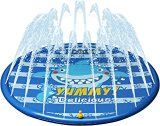 Kyerivs Sprinklers for Kids, Splash Pad, Water Play Mat for Children Outdoor Sprinkler Pad Great Summer Fun 60inch