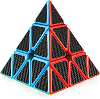 D-FantiX Pyramid Cube, Carbon Fiber Pyramid 3x3 Speed Cube Triangle Cube Puzzle