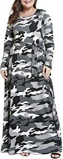 Plus Size Camouflage Maxi Dress for Women Long Sleeve Printed Long Dresses