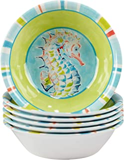 "Certified International Deep Sea Melamine 7.5"" All Purpose Bowls, Set of 6, Multicolor"