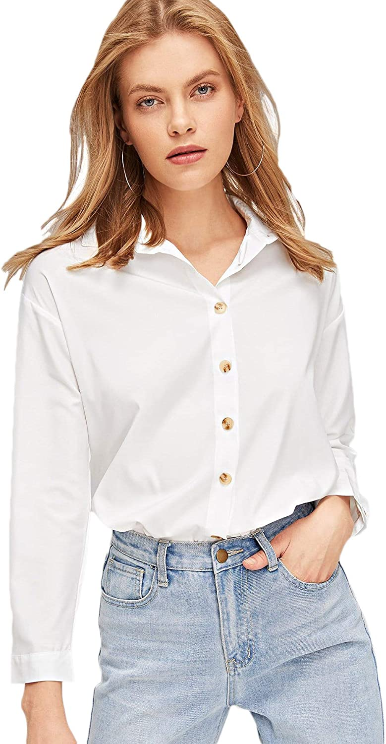 SOLY HUX Women's Casual Long Sleeve Shirt Button Down Top Blouse