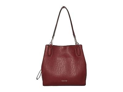 Calvin Klein Elaine Bubble Lamb Novelty Triple Compartment Tote (Currant) Tote Handbags