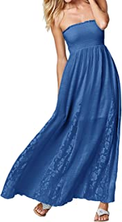 ACHIOOWA Women's Strapless Off Shoulder Ruffles Crochet Loose Beach Casual Party Maxi Cami Long Dress