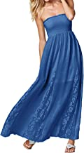 StyleDome Women's Strapless Off Shoulder Ruffles Crochet Loose Beach Casual Party Maxi Cami Long Dress
