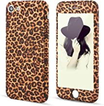 for iPhone SE iPhone 5S Case,L-FADNUT 3in1 Stylish Leopard Cheetah Print Precise-Fit Premium PC Case and Tempered Glass Screen Protector Scratch Resistant Dual Layer Protective Case Brown