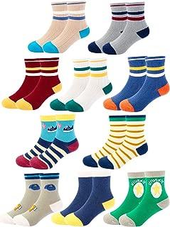 BOOPH Boys Crew Socks 5 Pack Baby Toddler Dinosaur Striped Cotton Socks for Boys