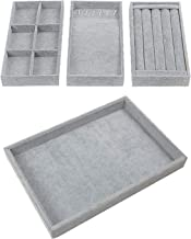 "Houseables Jewelry Tray Organizer, Stackable Accessories Storage, 13.8""W x 9.5""D, 4 Pieces, Gray, Felt Earring Box, Drawer..."