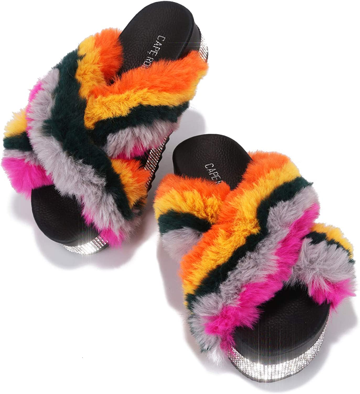 Cape Robbin Spotty Furry Faux Fur Slides Slippers, Platform Strappy Rhinestone Sandals for Women