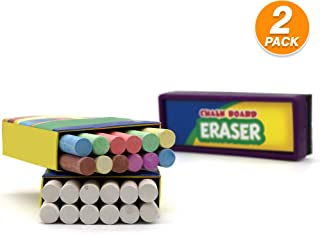 Emraw Eraser 12 White Chalk Dustless Chalk Non-Toxic 12 Color Chalkboard School Office and Sidewalk Outdoor Chalk Block Bundle for Art and Home Board Chalk with Eraser 25 Per Pack (Pack of 2)