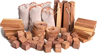 ACMETOP Aromatic Cedar Blocks for Clothes Storage, 100% Natural Cedar Balls Hangers Clothes Protector, Storage Accessories Closets & Drawers Freshener (60 Pack)