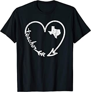 Vintage Texas Teacher Shirt Arrow Heart Home State Gift