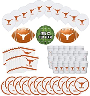 Mayflower Products University of Texas Longhorns Football Football Tailgating Party Supplies for 20 Guest and Balloon Bouquet Decorations