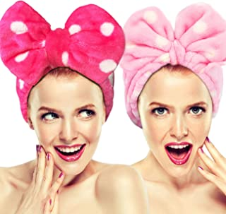 Hairizone Cosmetics Headbands for Washing Face Shower Spa Mask, Soft and Cute Big Bowknot Hair Bands for Women and Girls (Roseo/Pink)