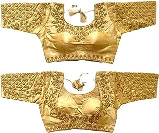REKHA Ethnic Shop Full Stitch Readymade Women'Banglory Silk Designer Blouse 761 Cream