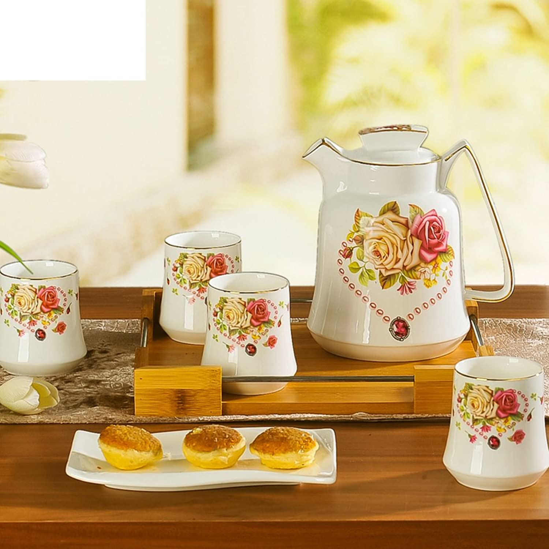 Xwuhan Simple Ceramic Ware Kit à Boire Cruche Ensemble De 5 Poupées Résistant à La Chaleur Anti-déflagrant Tea Set-B