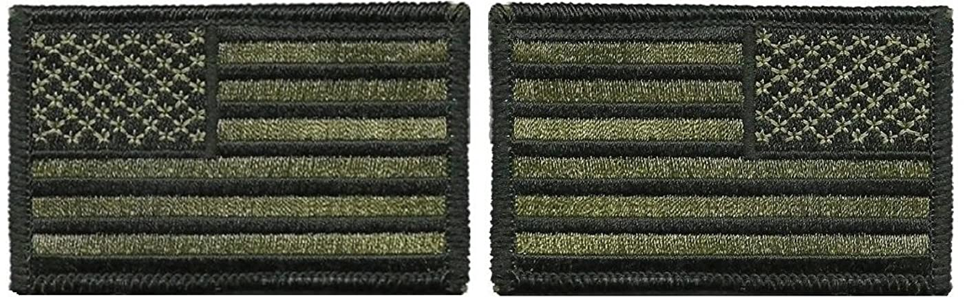 Tactical USA Flag Patch and Reverse USA Flag Patch - Olive Drab (Od) 2