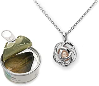 Pearlina Rose Flower Cultured Pearl Oyster Necklace Set Silver Plated Pendant w/Stainless Steel Chain 18