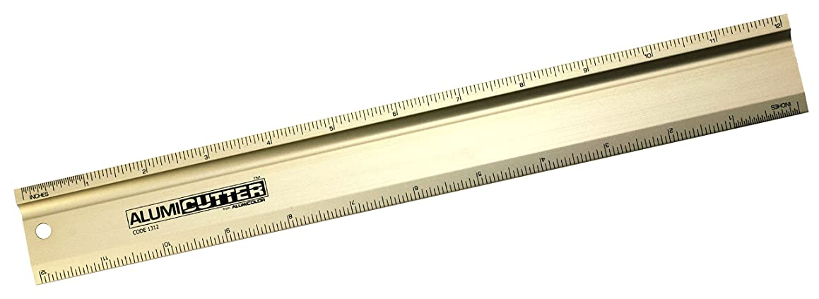 Alumicolor Alumicutter, Safety Ruler and Straight Edge, Aluminum, 12 inches, Gold (1312-2)
